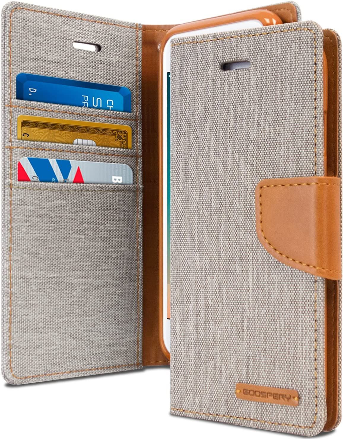 Goospery Canvas Wallet for Apple iPhone 8 Plus Case (2017) iPhone 7 Plus Case (2016) Denim Stand Flip Cover (Gray) IP7P-CAN-GRY