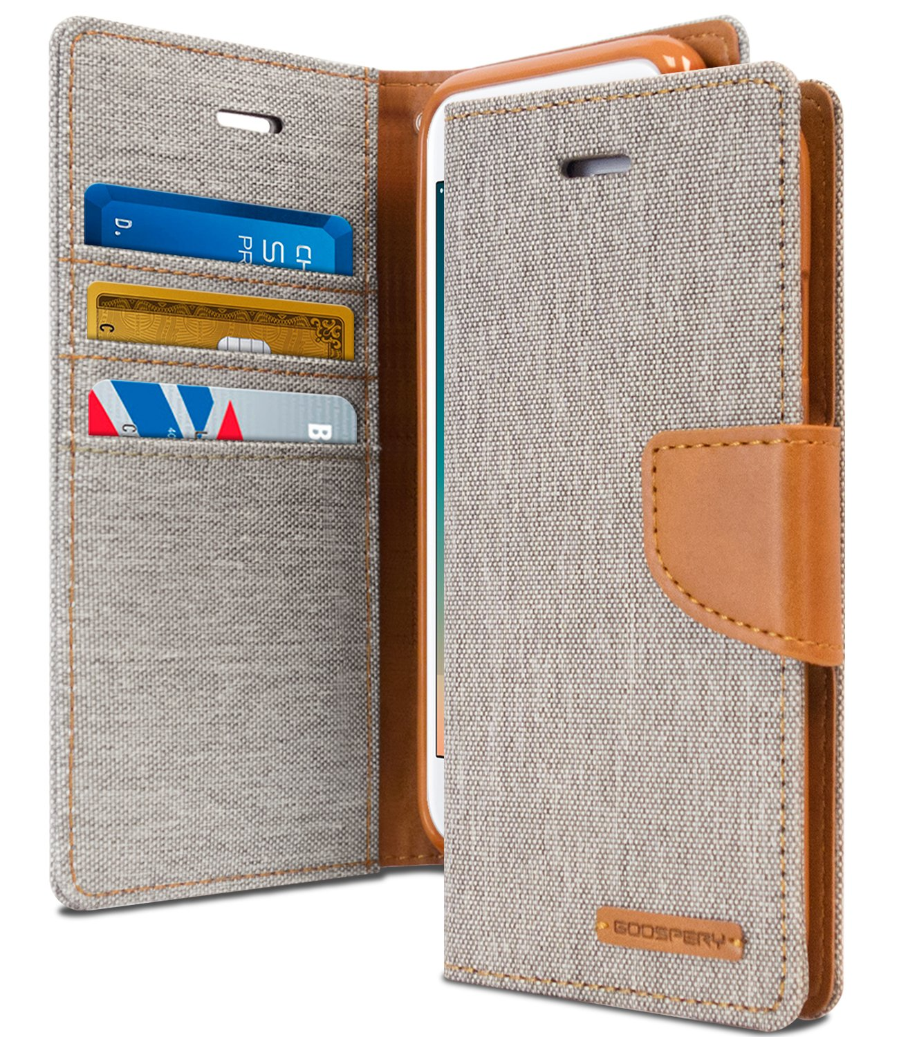 Iphone 8 Case 7 Drop Protection Goospery Plus Blue Moon Flip Black Canvas Diary Denim Material Wallet Id Card Cash Slot W Stand