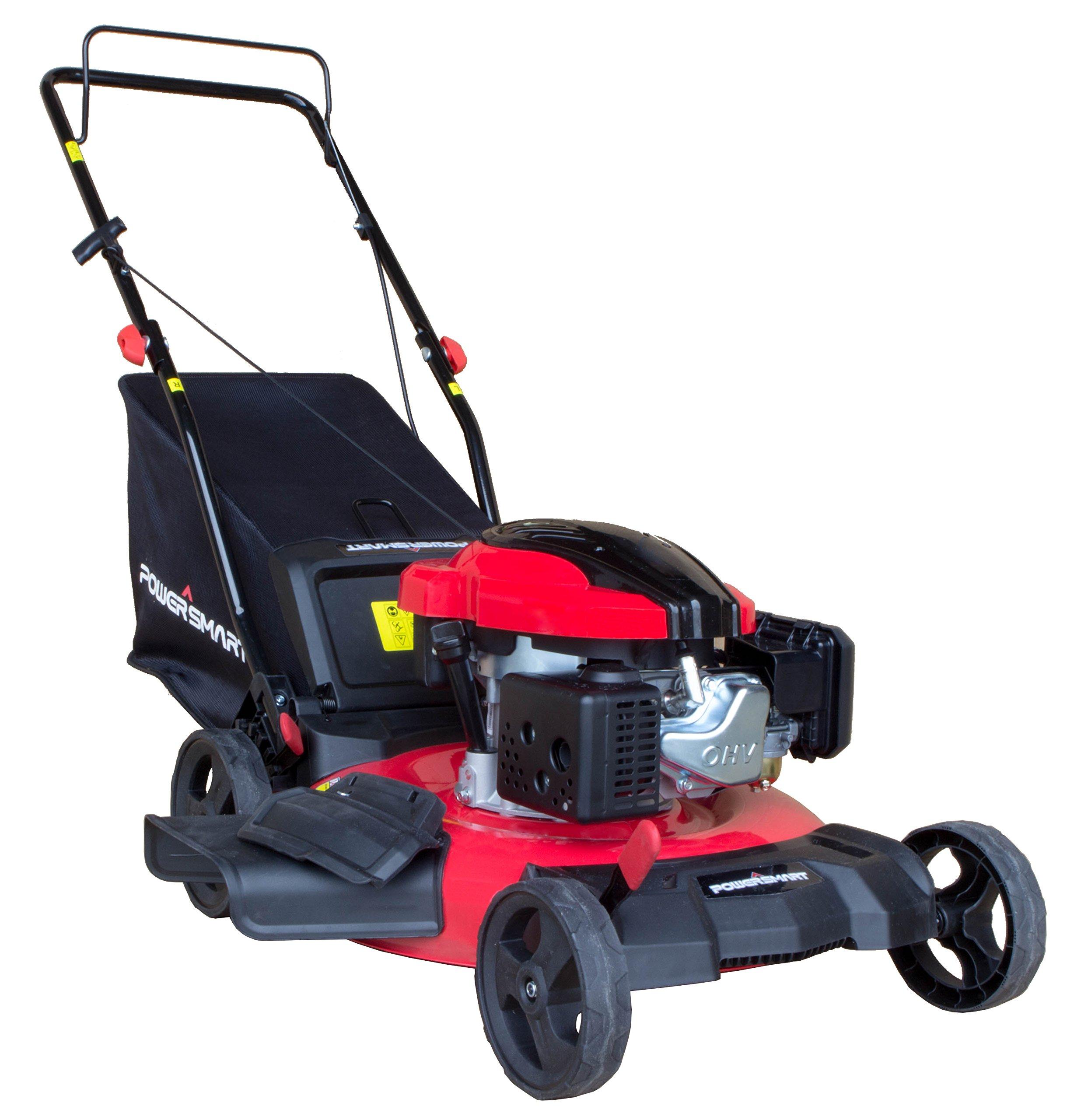 PowerSmart DB8621P 3-in-1 159cc Gas Push Mower, 21'', Red, Black