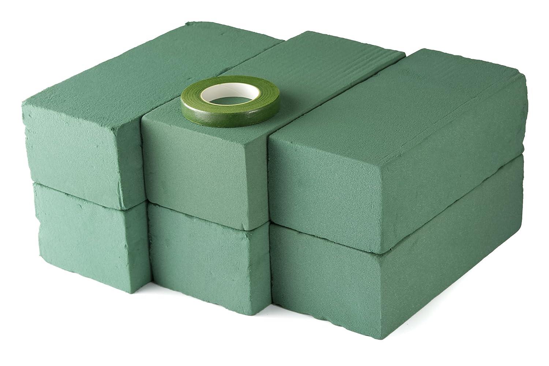 I mattoncini verdi bagnati con schiuma floreale in confezione da 6 pezzi sono completi di nastro di carta per fioristi per composizioni floreali, il tutto da Markat International