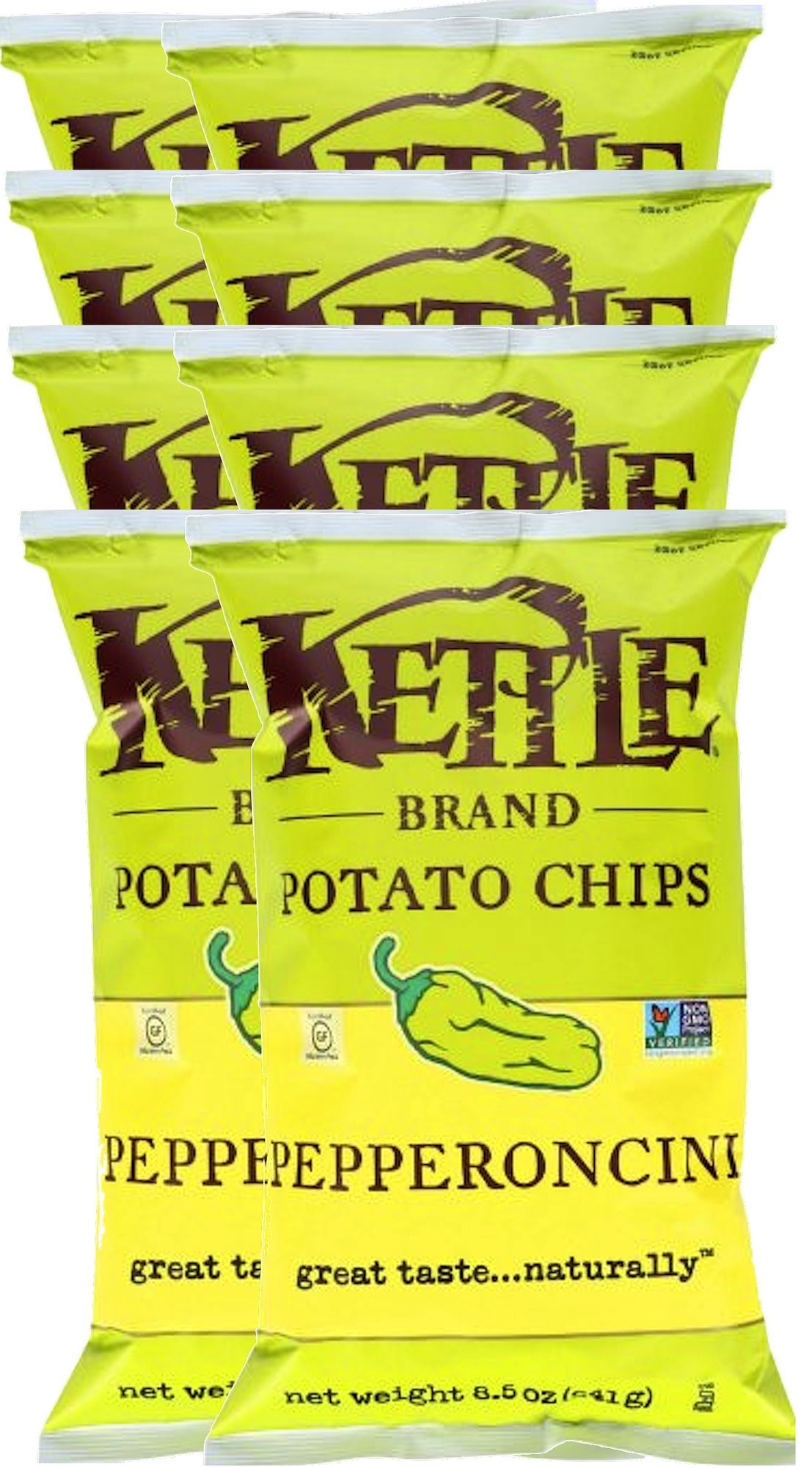 Kettle Brand Kettle Gluten Free Chips Pepperoncini 8.5oz Snack Care Package for College, Military, Sports (8)