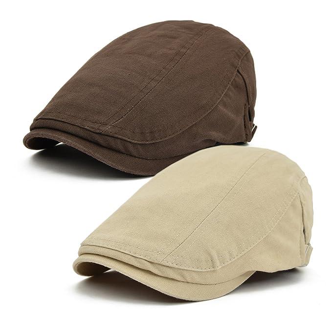 b8aa3c38e JANGOUL 2 Pack Men's Cotton Newsboy Cap IVY Gatsby Flat Driving Beret Hat