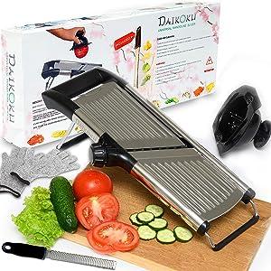 Stainless Steel Adjustable Mandoline Slicer Kitchen Tool for Slicing Tomato Potato Fruits Vegetables and other Food SS Cheese Grater & Citrus Zester Gloves Veggie Holder Ideal For Salads & Fries