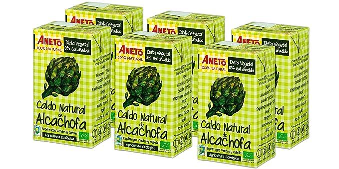 Aneto 100% Natural - Caldo de Alcachofa Ecológica - caja de 6 unidades de 1