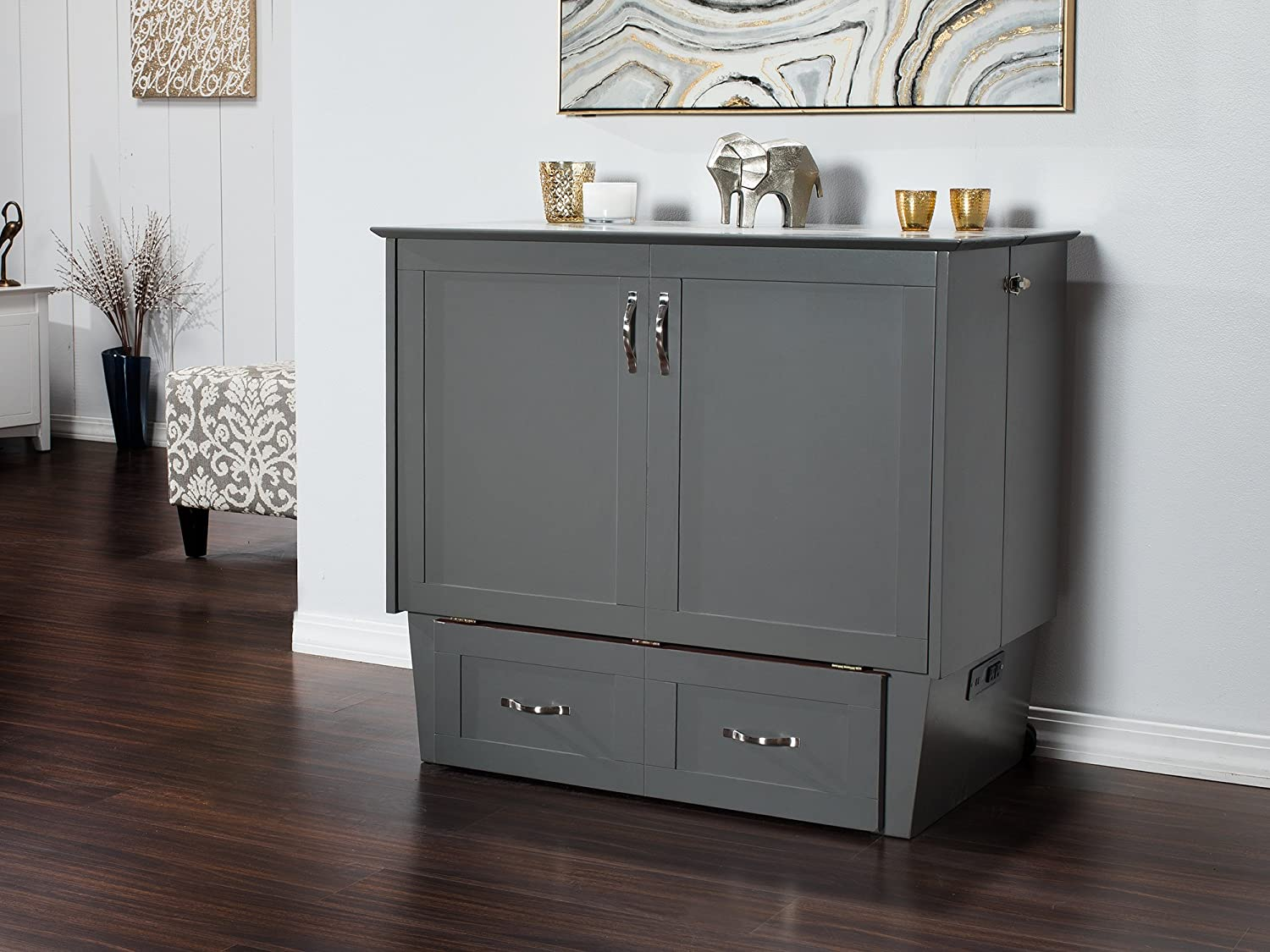 Madison Murphy Bed Chest Twin With Charging Station Amp Coolsoft Mattress Ebay