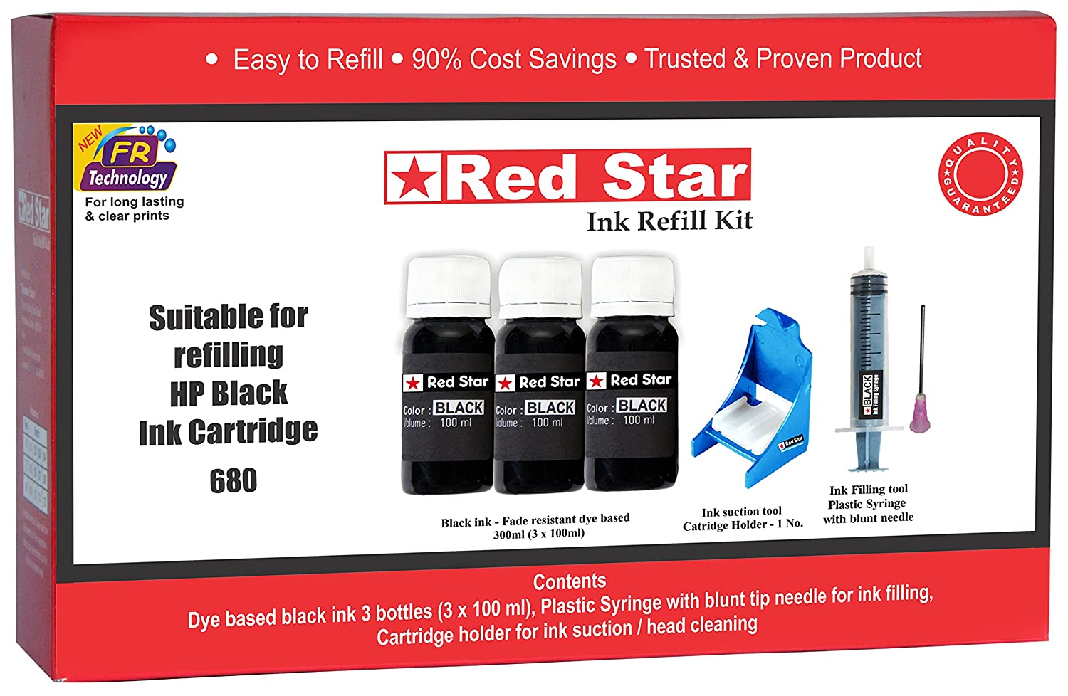 Red Star Ink Refill Kit For Hp 680 Black Cartridge 300ml Tools Tri Color Original Advantage Filling Head Cleaning Computers Accessories