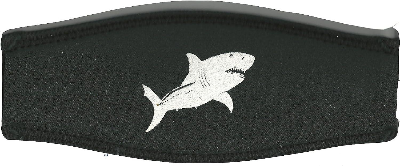 Hai in Weiss Sub-base Maskenband Aufdruck schwarz