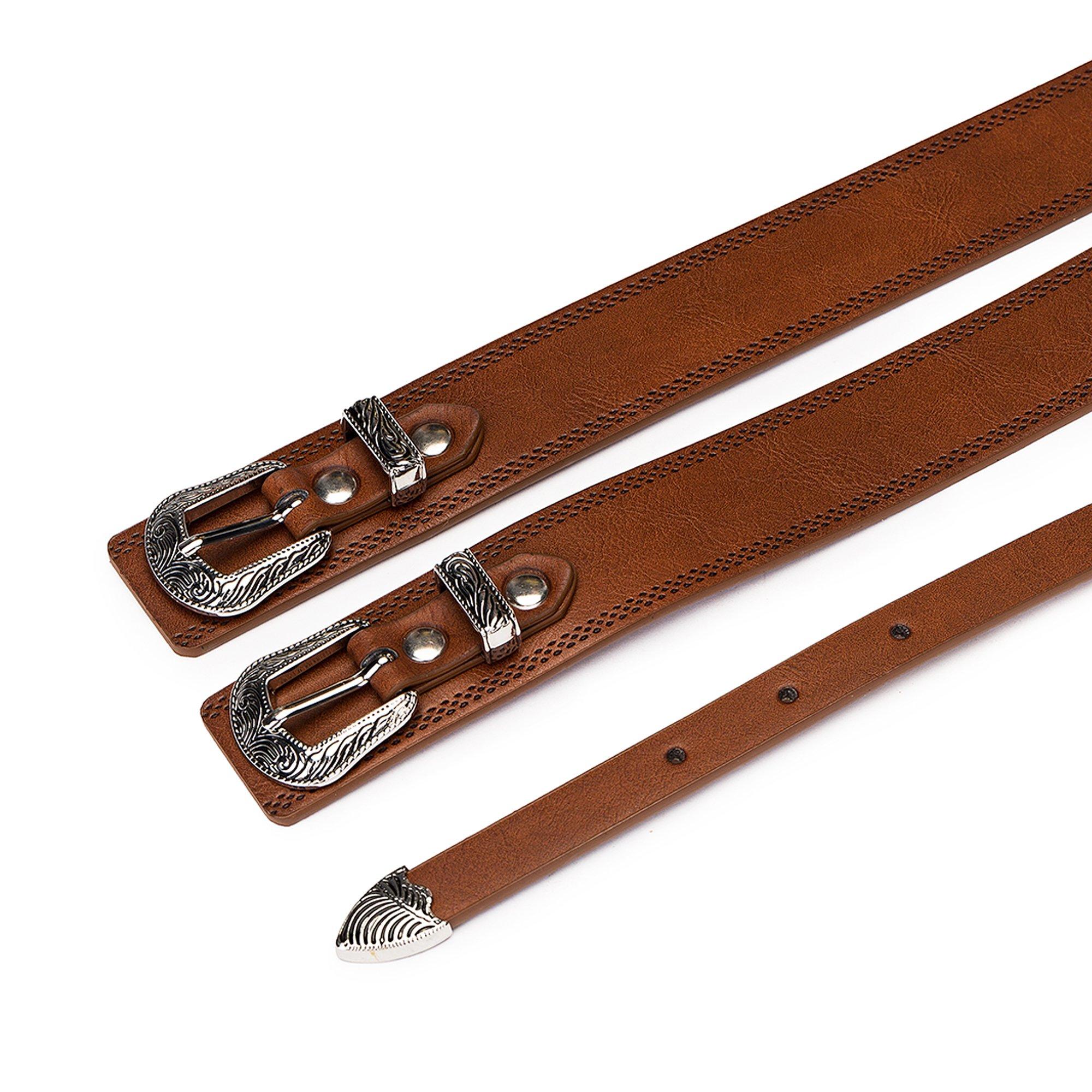 Tanpie Western Leather Belt for Women Boho Waist Belt with Designer Metal Double Buckle Yellow Brown L by Tanpie (Image #3)