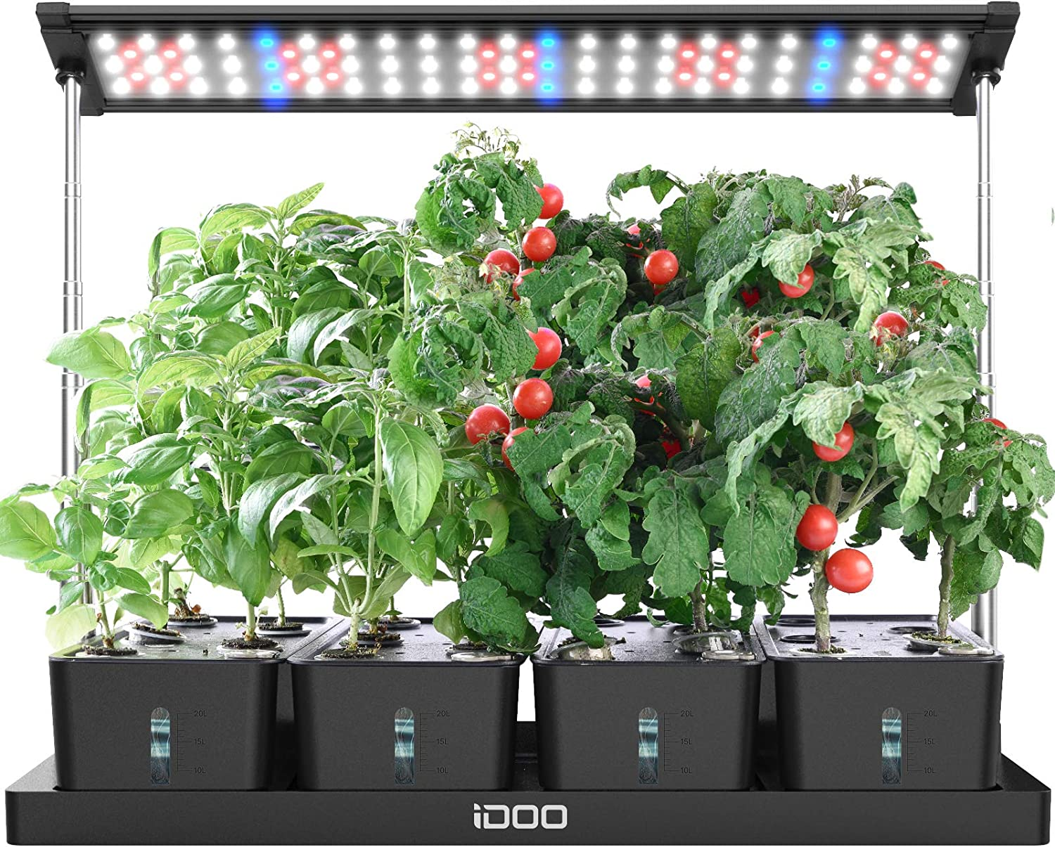 iDOO 20Pods Indoor Herb Garden, Grow Light with 4 Removable Water Tank, Free Timing Setting, 26.77in Adjustable Height
