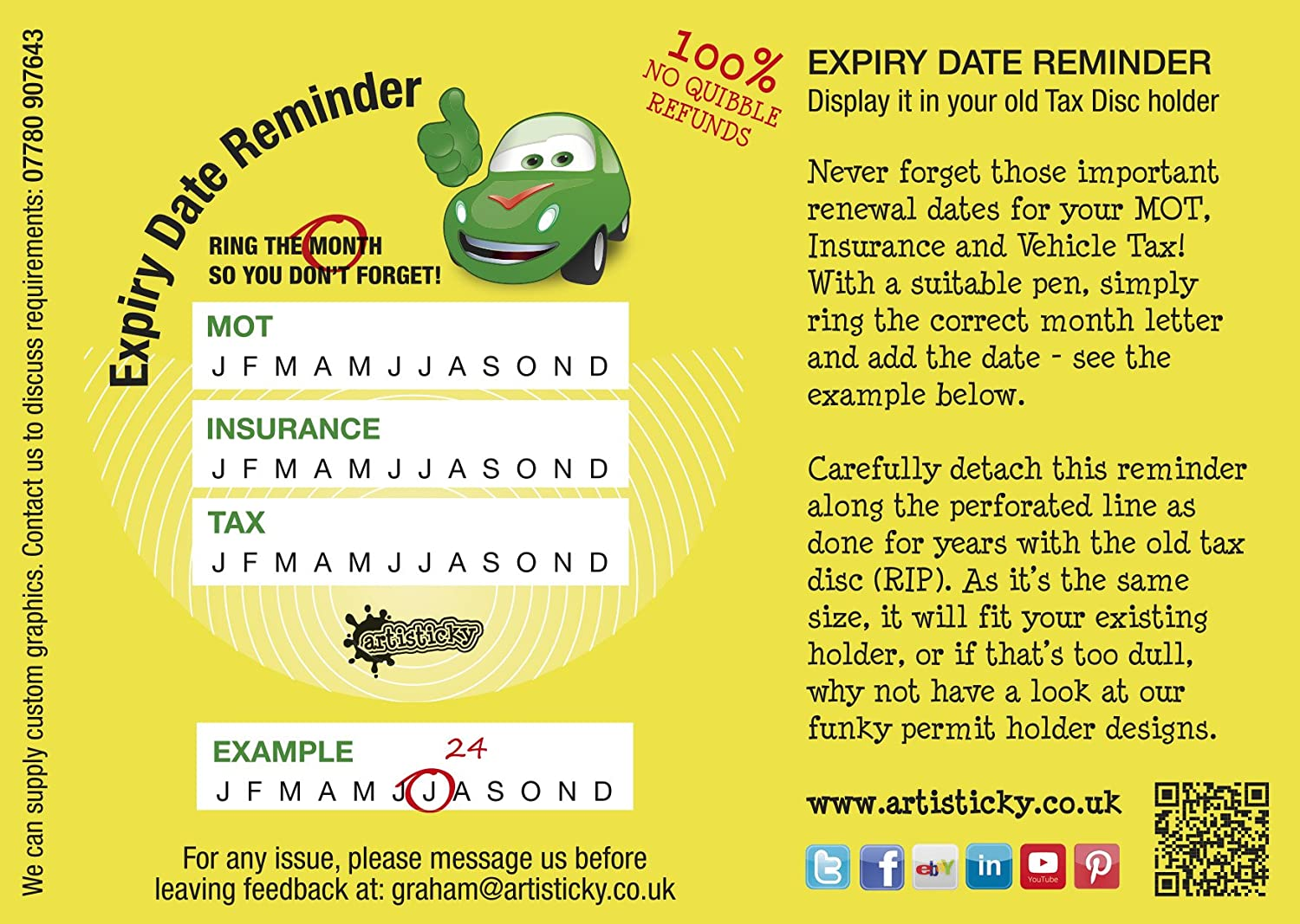 New set of 5 artisticky drivers auto expiry dates reminders for set of 5 artisticky drivers auto expiry dates reminders for tax mot insurance amazon car motorbike spiritdancerdesigns Gallery