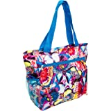 Womens Beach Shopper Tote Bag (Multicolor Butterfly w/ Blue Trim)