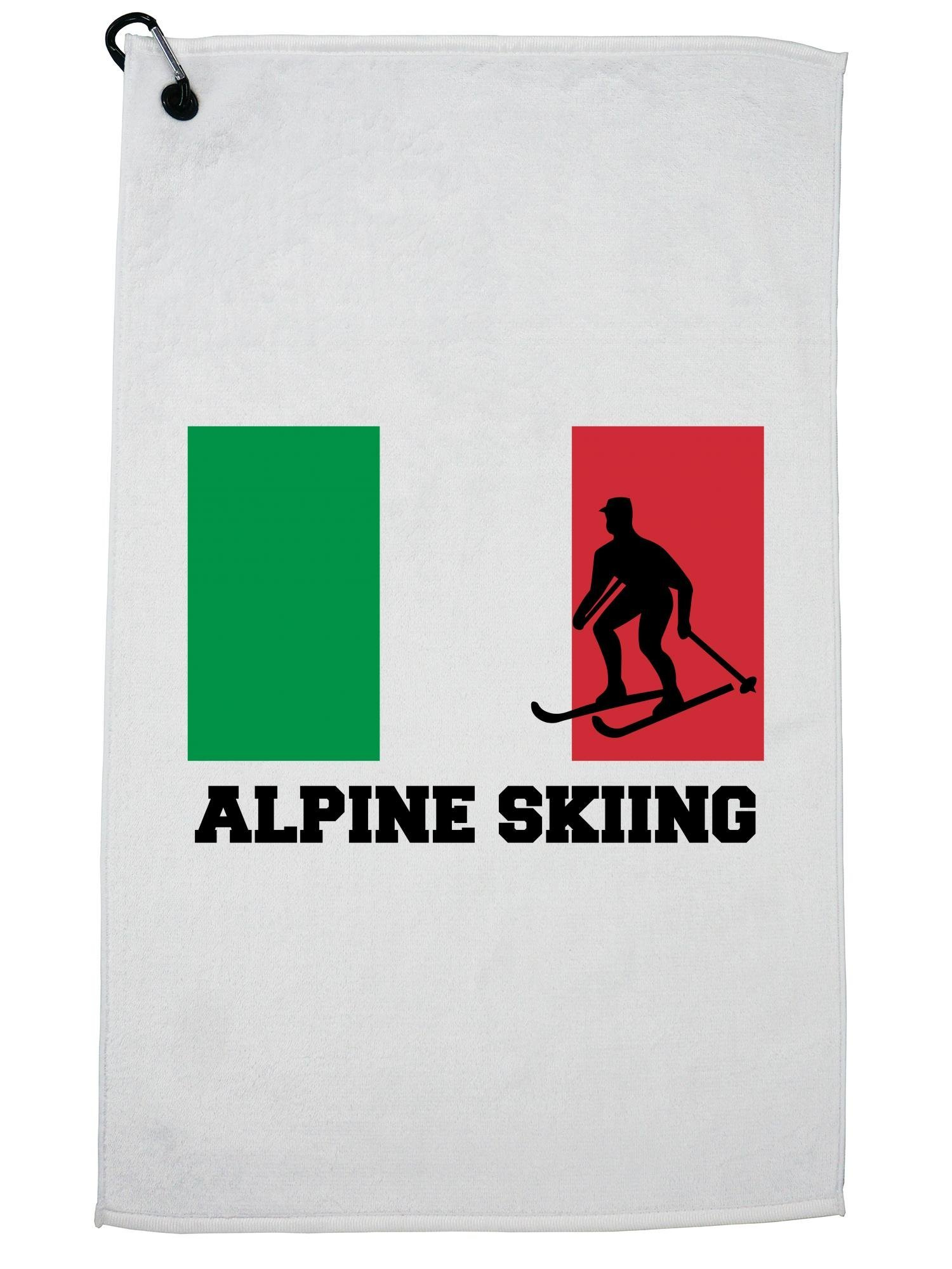 Hollywood Thread Italy Olympic - Alpine Skiing - Flag - Silhouette Golf Towel with Carabiner Clip