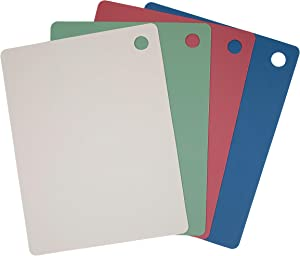 Takyl Home Set of 4 Flexible Cutting Mats, Thick Nylon Cutting Boards, Durable BPA-Free Cutting Surface, Texturized Meal Prep Station, Dishwasher-Safe, Assorted Colors