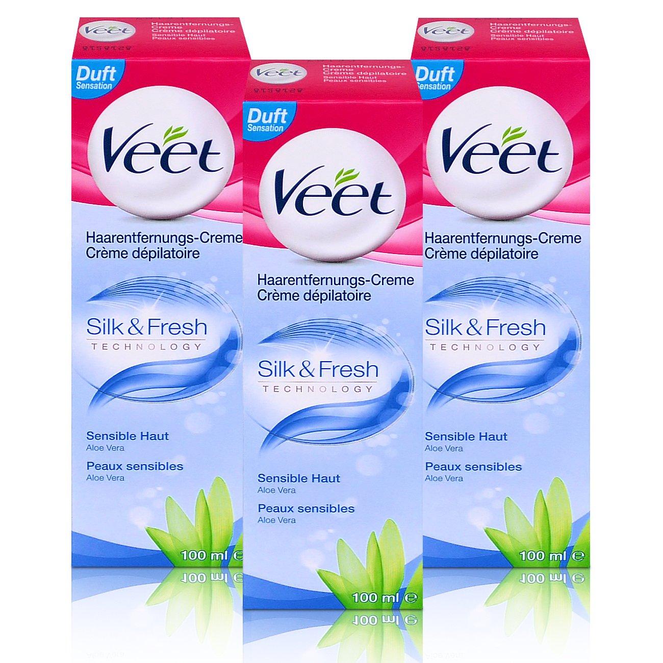 3 x Veet Crema de eliminación de vello Silk & Fresh Pieles Sensibles 100 ml: Amazon.es: Salud y cuidado personal