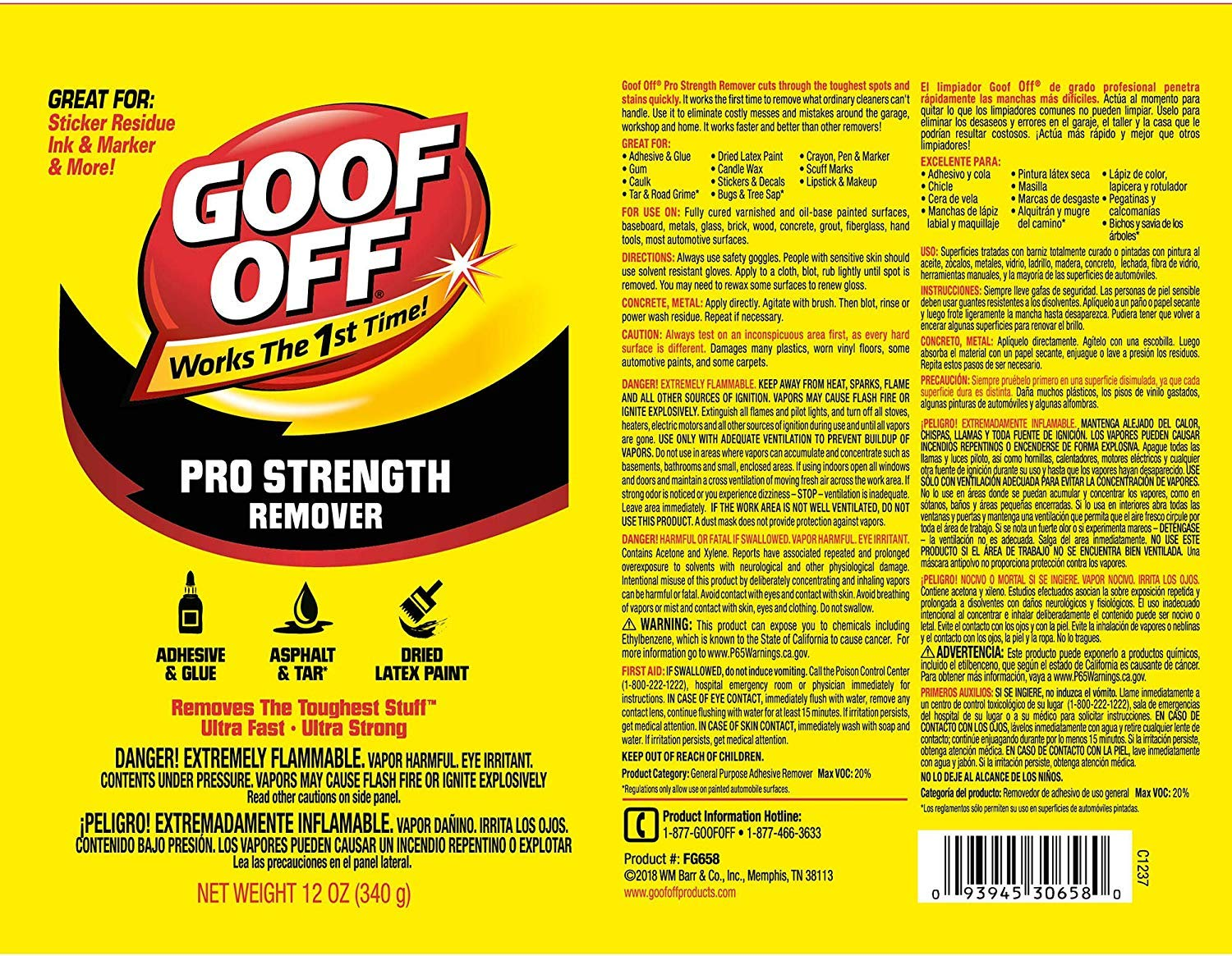 Goof Off FG658 Professional Strength Remover, Aerosol 12-Ounce (Thrее Рack) by Goof Off