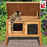 The Hutch Company Self Cooling/Heating Outdoor Cat House Kennel with One Way Privacy Window Fully Assembled