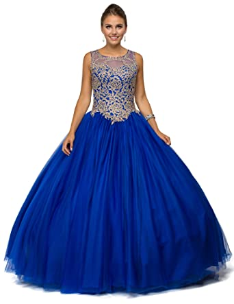 Dancing Queen Womens Gorgeous Blue Embroidered Quinceanera Dress- Ladies Wedding Evening Party Pretty Ball Gown