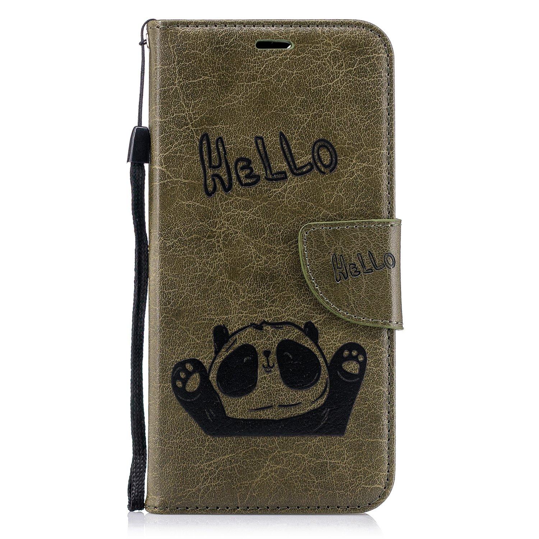 Lomogo Coque Huawei P Smart, Panda Housse en Cuir Portefeuille avec Porte Carte Fermeture par Rabat Aimanté Anti Choc Etui de Protection pour Huawei P Smart - LOBFE12447 Rouge
