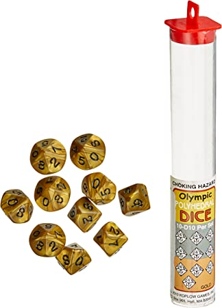 10D10 Dice Set, Olympic Gold
