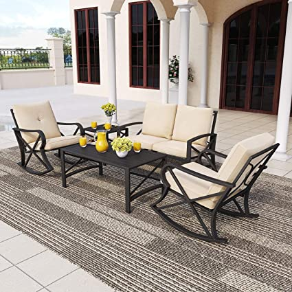 Patiofestival 5 Pcs Metal Patio Furniture Conversation Set Outdoor Patio Conversation Sectional Sets Iron Steel Frame Loveseat Chair With Cushions Coffee Table For Pool Backyard Lawn 5 Pcs Khaki Garden Outdoor