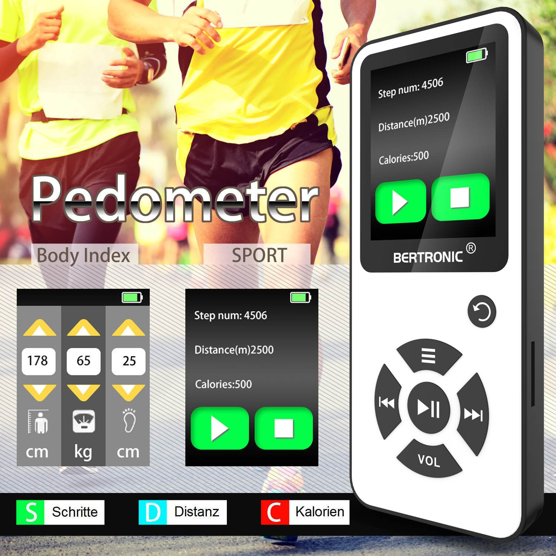 Audio-Player f/ür Sport mit Micro SD-Karte /& Silikonh/ülle Portabler Player mit Lautsprecher 64 GB ★ Bis 100 Stunden Wiedergabe ★ Radio BERTRONIC Made in Germany BC01 Royal MP3-Player