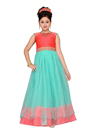 70d8f814229 Amazon.com  ADIVA Girl s Indian Party Wear Gown for Kids Peach  Clothing