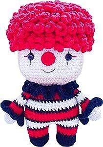 [New] FRILY Joker Crochet Doll - Amigurumi Stuffed Doll - Knitted Crochet Toy Kindergarteners, Girls, Boys and Adults - 100% Handmade Using Premium Yarns - 8.3'' Tall - Red Color