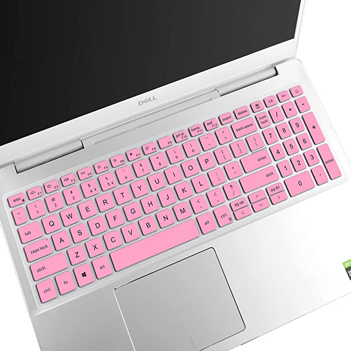 LEZE - Keyboard Cover Compatible with Dell Inspiron 15 7000 7590 7591 7500 7501, Inspiron 15 5000 5501 5508 5584 5590 5593 5598, Vostro 15 7590 7591 5590 7500 Laptop US Layout - Pink