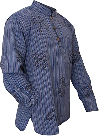 SHOPOHOLIC FASHION Herren Stonewashed Gestreift mit Kapuze Hippy Gro/ßvater Shirt