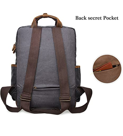 f81521b8621a Amazon.com  ALTOSY Water Resistant Canvas Backpack Crazy Horse Leather  Backpack for men Laptop Bag 5351 (Grey)  ALTOSY Co.