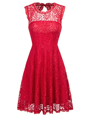 7303bd55388 GRACE KARIN Women s Sleeveless Floral Lace Homecoming Prom Cocktail Dress  Size S Wine Red
