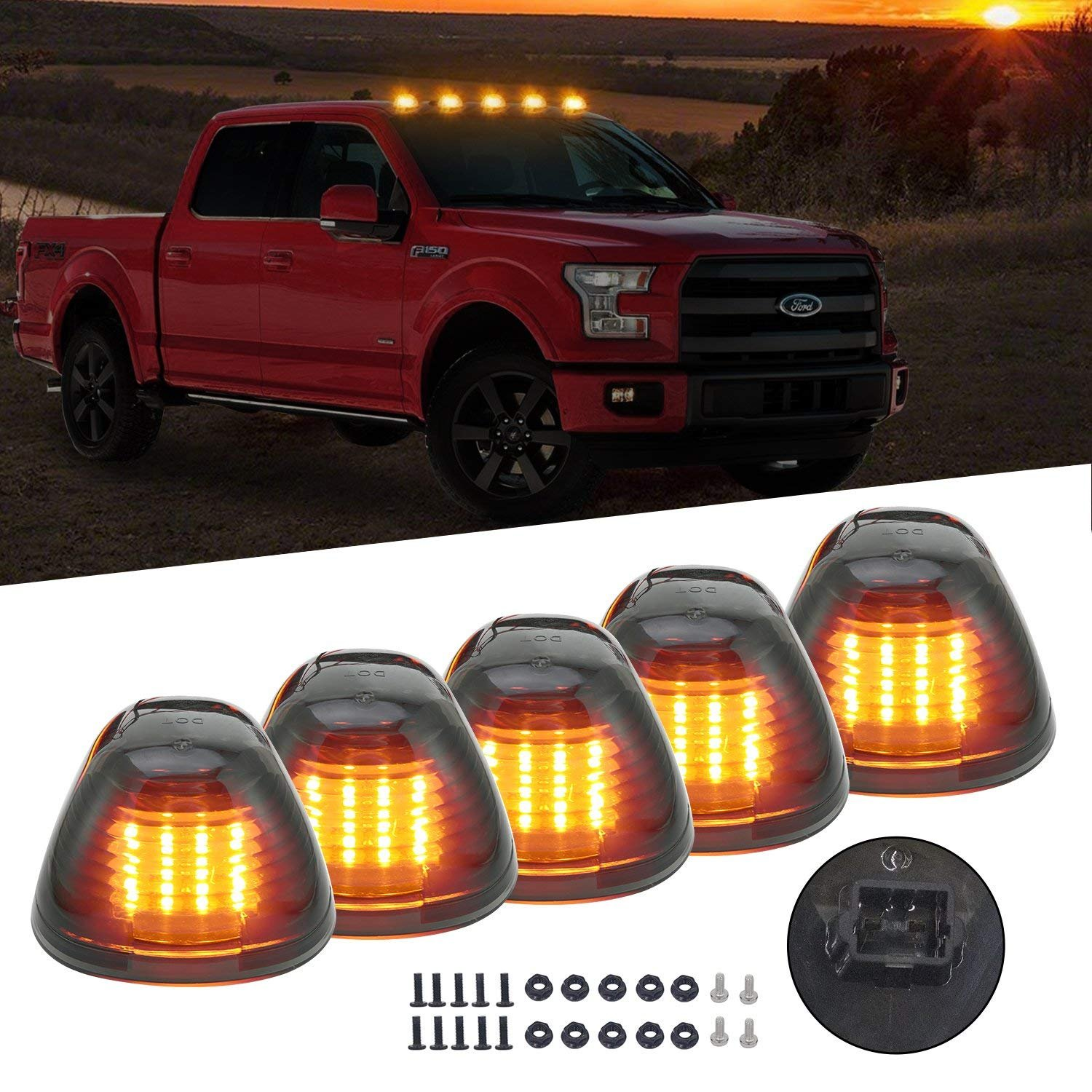 16LED Black Smoked Lens with Amber Cab Roof Top Marker Lamps Clearance Running Lights Assembly For 1999-2016 Ford F-250 F-350 F-450 F-550 Super Duty 2017 2018 E-350 E-450 Super Duty Pickup Truck KOMAS