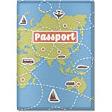 Cute Passport Cover for Women and Men, by Govinda Crafts, Eco Leather Passport Holder (World Map)