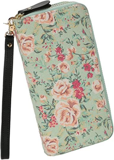Women Floral Wallet Zipper Canvas Purse Long Clutch Bag Flower with Coin Pocket