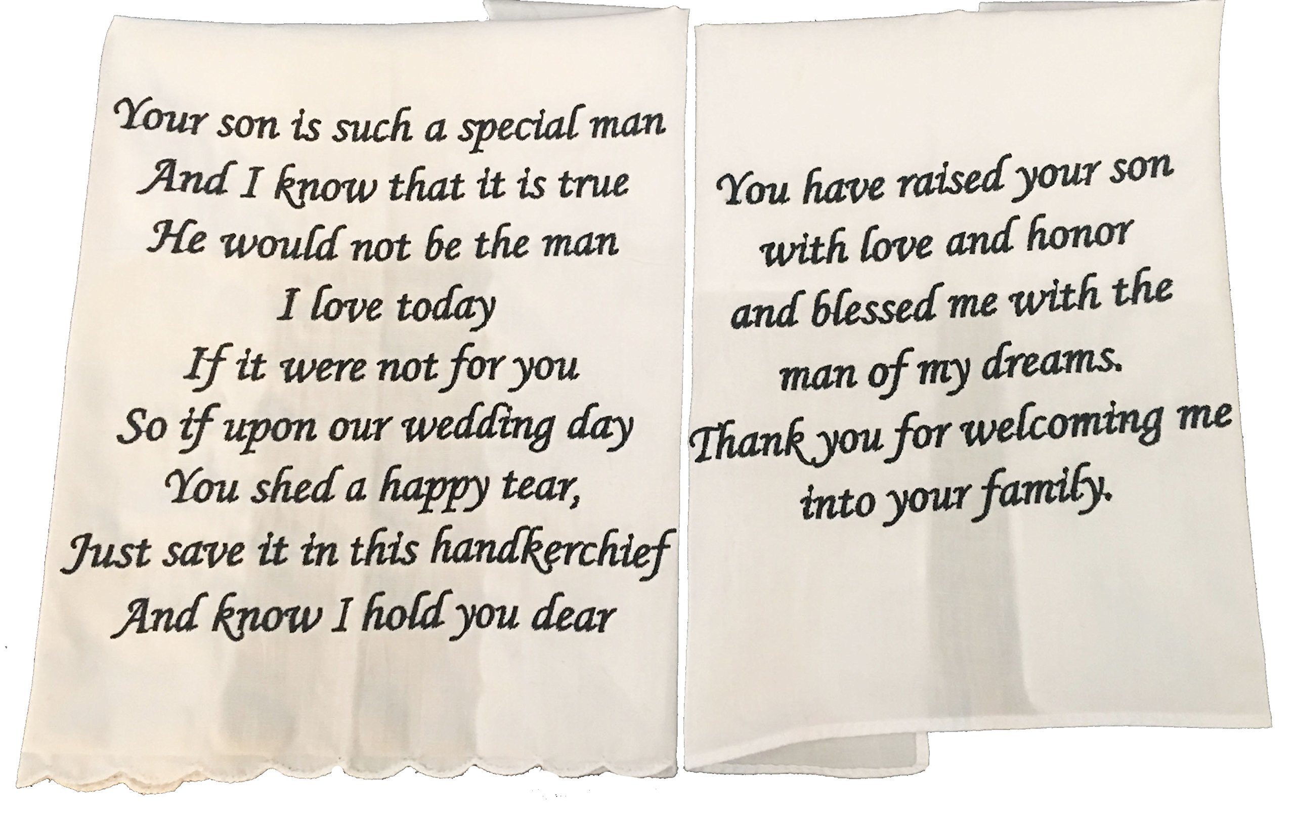 Mother and Father of The Groom Wedding Handkerchief Set