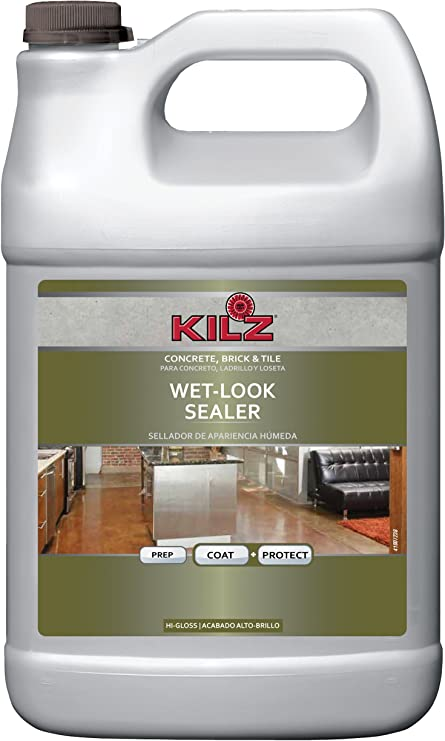 KILZ L390201 Interior/Exterior Concrete, Brick, and Tile Liquid Masonry Sealer, Wet Look (High-Gloss),
