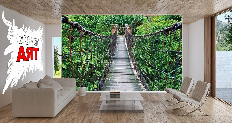 Fototapete hängebrücke im dschungel wand dekoration   wandbild ...