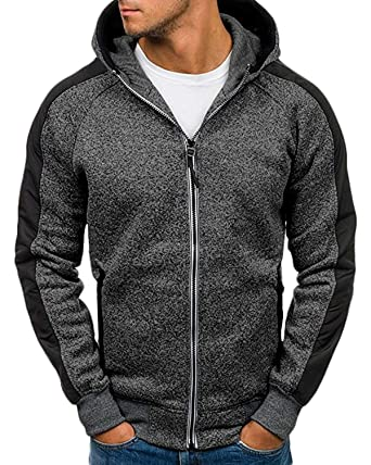 MODCHOK Homme Sweat à Capuche Pull Over Hoodie Sweat Shirt Top Tee Manches Longues