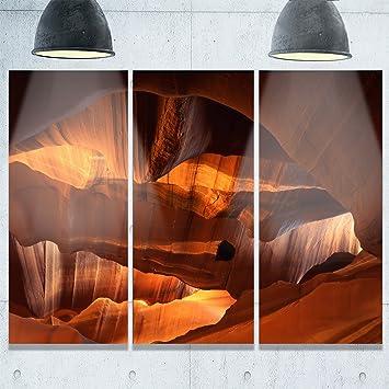 Design Art Rot Kalkstein Höhlen Landschaft Foto Metall Wand Kunst, (3), Gelb