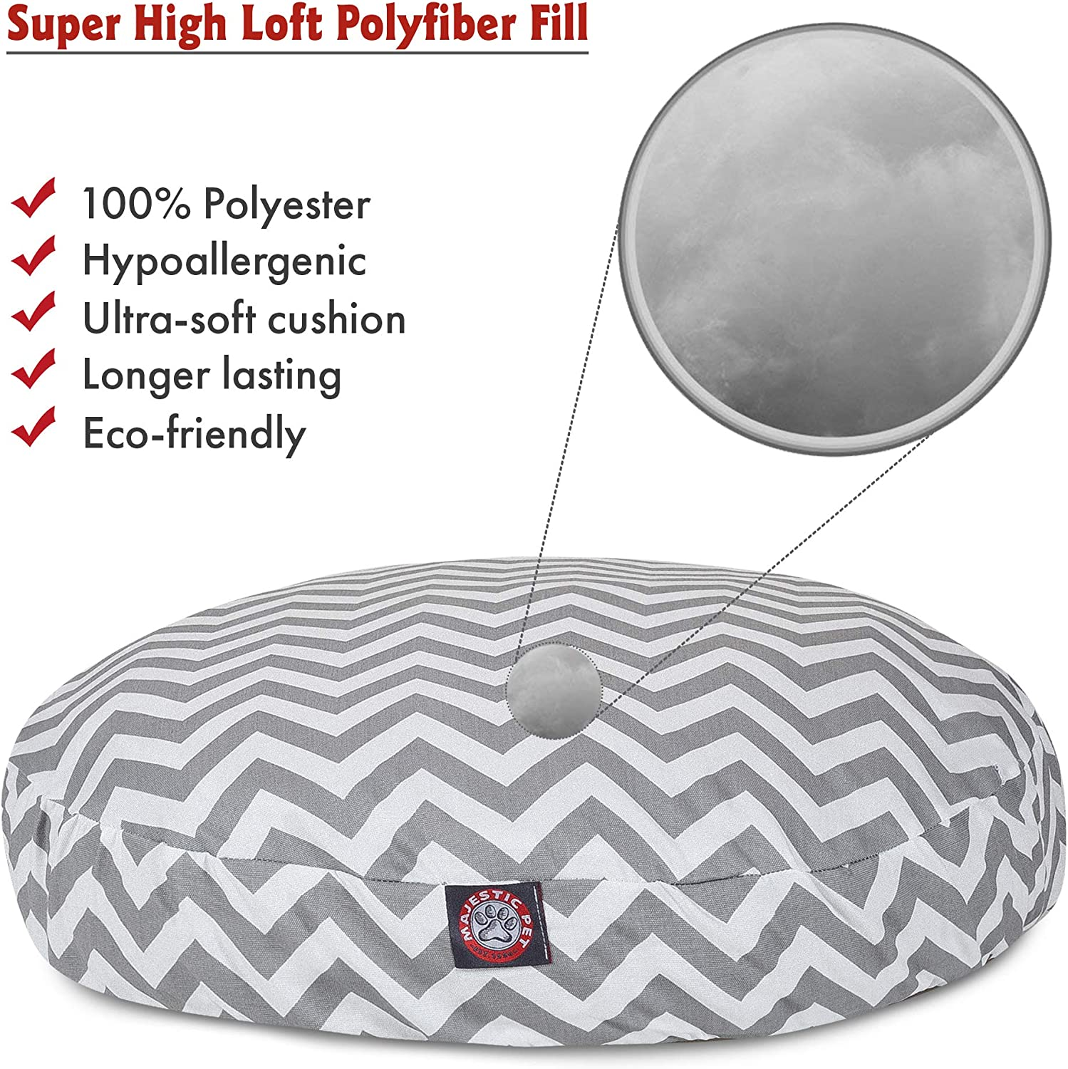 Gray Chevron Medium Round Indoor Outdoor Pet Dog Bed With Removable Washable Cover By Majestic Pet Products