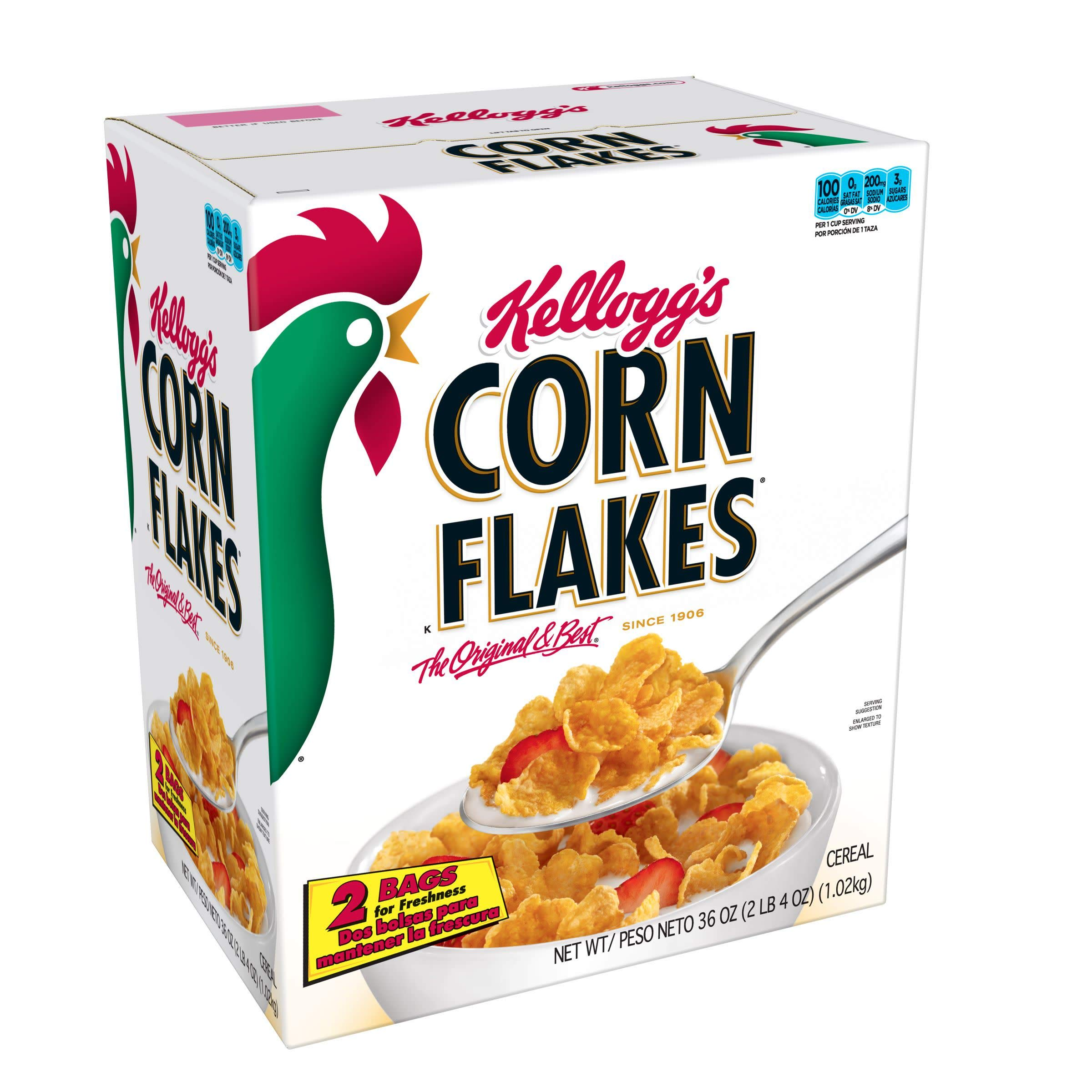 Kellogg's Corn Flakes, Breakfast Cereal, Fat-Free, Bulk Size, 216 oz (Pack of 6, 36 oz Boxes) by Kellogg's (Image #1)