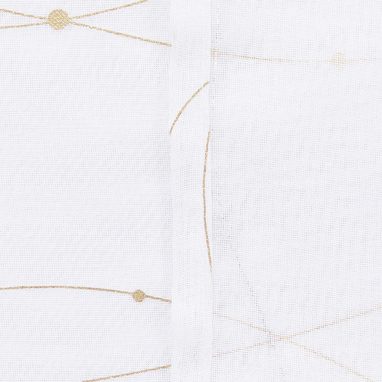 Deconovo Lot de 2 Rideaux Voilages /à Oeillets Rideau en Effet Lin Imprim/és des Lignes et Points dor pour Decoration Chambre 140x138cm