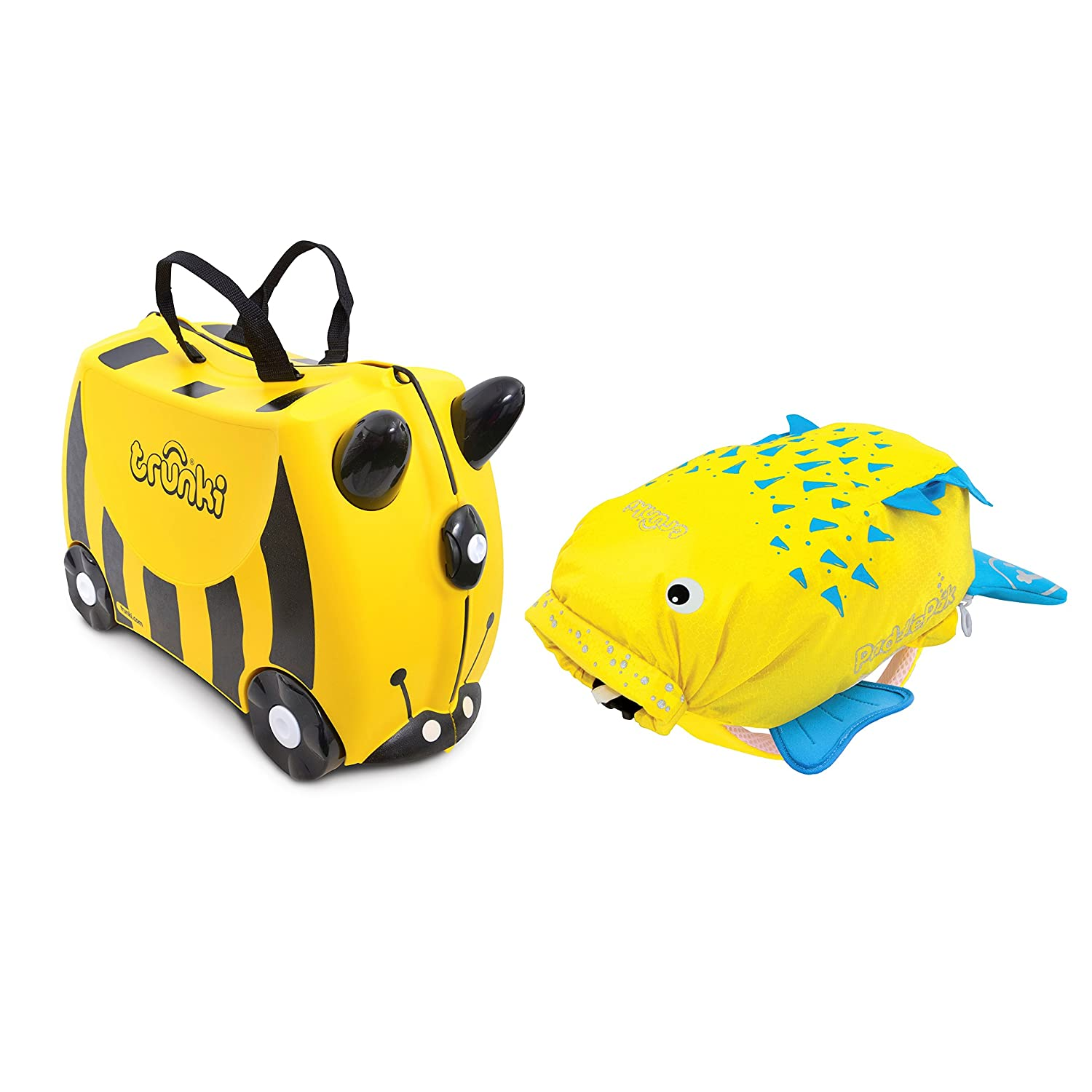 Trunki Ride-on Suitcase und PaddlePak Koffer-Set, 18 Liter, Gelb 0258-GB01