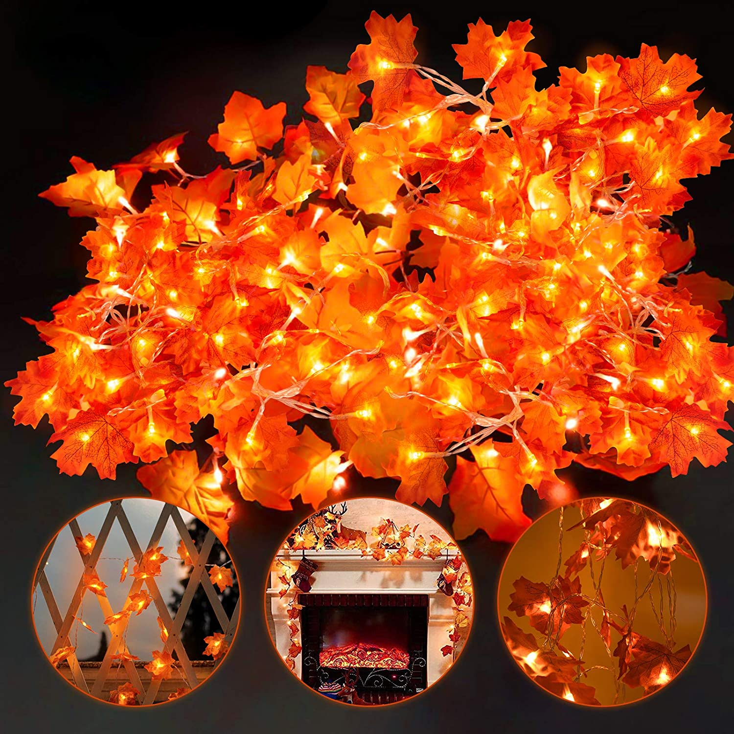 OZMI Maple Leaves Garland String Light, 1 Pack Thanksgiving Fall Decorations Leaf Garland String Lights for Indoor Outdoor 19.68 ft 40 LED, Waterproof Thanksgiving Decor Autumn Garland