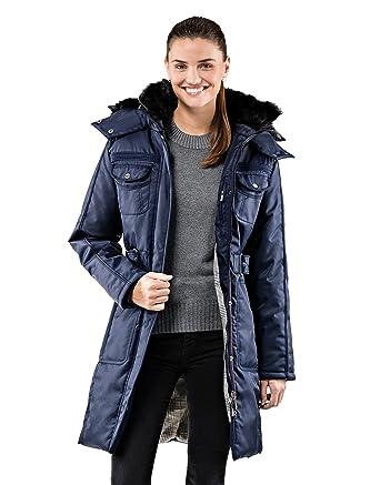 Manteau col montant capuche femme