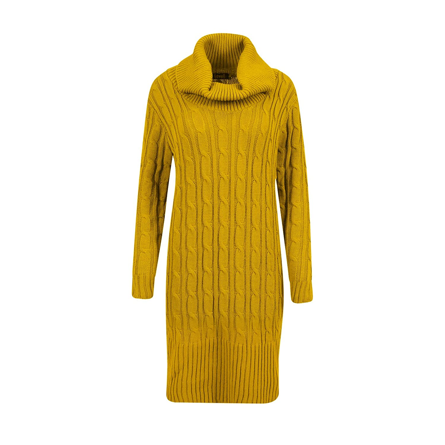 Womens Cable Knit Jumper Ladies Maxi Length Long Sleeve Knitwear Cowl Neck Dress