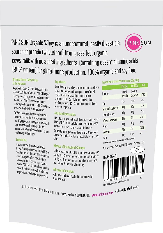 PINK SUN Polvo de Proteína de Suero Orgánico 420g (80% de proteínas) Sin Soja Sin Aditivos Sin Aromatizar - Organic Whey Protein Powder: Amazon.es: Salud y ...