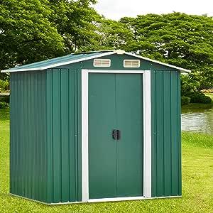 Kinbor Outdoor Metal Garden Shed Utility Tool Storage with Door for Backyard Garden Lawn Outdoor