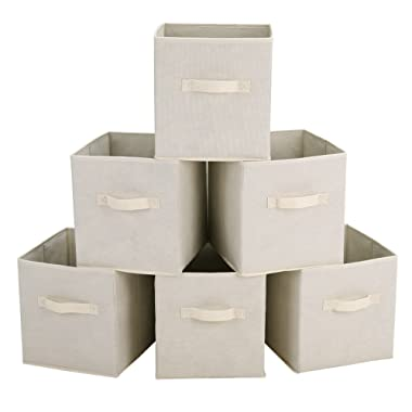 SONGMICS Storage Bins Cubes Baskets Containers with Dual Non-woven Handles for Home Closet Bedroom Drawers Organizers, Flodable, Beige, Set of 6 UROB26M