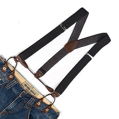 New Men Suspenders Y-Back Striped Braces Button Elastic Belt Clothes Accessories